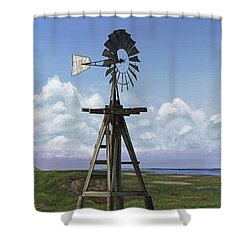 Matagorda Beach Windmill Shower Curtain