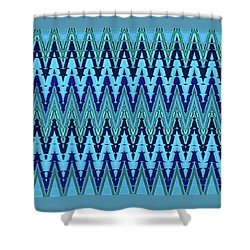 Material Things - Abstract Design - Aqua Green Blue Shower Curtain