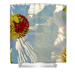 Shower Curtain featuring the photograph Matilija Poppies Pop Art by Ben and Raisa Gertsberg