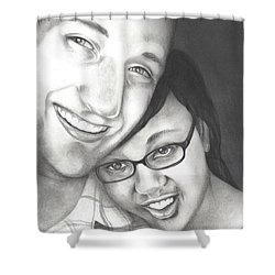Shower Curtain featuring the drawing Matt And Jasmine by AC Williams