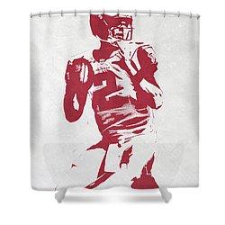 Matt Ryan Atlanta Falcons Pixel Art 2 Shower Curtain by Joe Hamilton