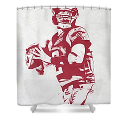 Matt Ryan Atlanta Falcons Pixel Art Shower Curtain by Joe Hamilton
