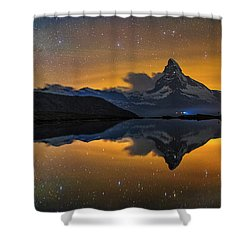 Matterhorn Milky Way Reflection Shower Curtain