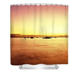 Maui Boat Harbor Silhouette Shower Curtain by Carl Shaneff - Printscapes
