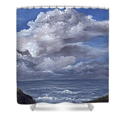 Shower Curtain featuring the painting Maui Clouds by Darice Machel McGuire