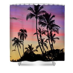 Maui Palm Tree Silhouettes Shower Curtain