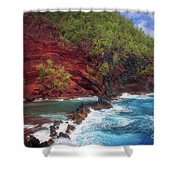 Maui Red Sand Beach Shower Curtain by Inge Johnsson