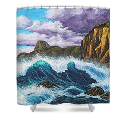 Shower Curtain featuring the painting Maui Rugged Coast  by Darice Machel McGuire