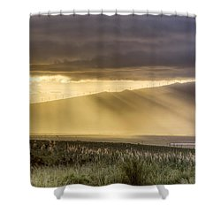 Maui Sunset God Rays Shower Curtain