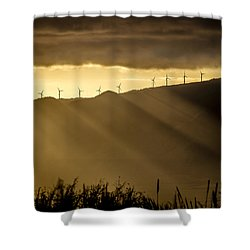 Maui Wind Farm Sunset Shower Curtain