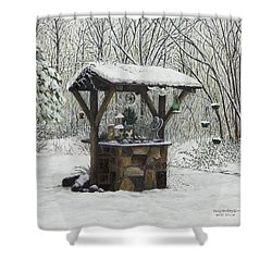 Mavis' Well Shower Curtain by Mary Ann King