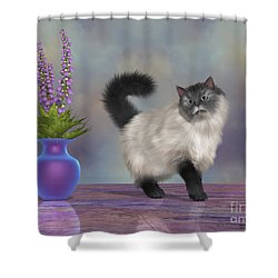 Max The House Cat Shower Curtain by Corey Ford
