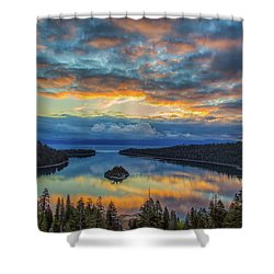 May Sunrise At Emerald Bay Shower Curtain by Marc Crumpler