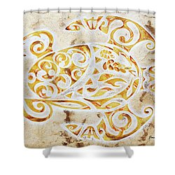 Shower Curtain featuring the painting Mayan Turtle by J- J- Espinoza
