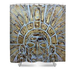 Shower Curtain featuring the painting Mayan Warrior by J- J- Espinoza