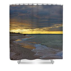 Mayflower Beach Walk Shower Curtain