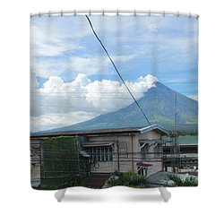 Mayon In-front Of My House Shower Curtain by Manuel Cadag