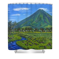 Shower Curtain featuring the painting Mayon Volcano by Amelie Simmons