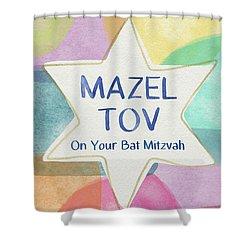 Mazel Tov On Your Bat Mitzvah- Art By Linda Woods Shower Curtain