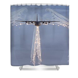 Shower Curtain featuring the photograph Mc-130h Combat Talon Dropping Flares by Gert Kromhout