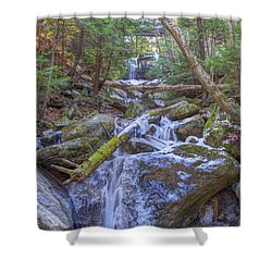 Shower Curtain featuring the digital art Mcconnells Mill Rock Falls Winter  by Randy Steele