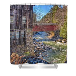 Shower Curtain featuring the digital art Mcconnells Mill Winter  by Randy Steele