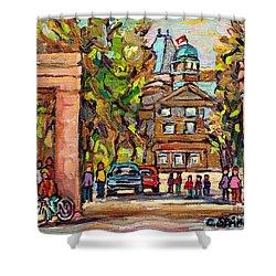 Mcgill Gates  Entrance Of Mcgill University Montreal Quebec Original Oil Painting Carole Spandau Shower Curtain