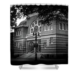 Mcglohon Theatre At Spirit Square In Black And White Shower Curtain