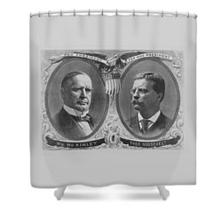 Mckinley And Roosevelt Election Poster Shower Curtain by War Is Hell Store