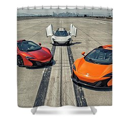 Shower Curtain featuring the photograph #mclaren #650s #party by ItzKirb Photography