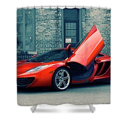 Shower Curtain featuring the photograph Mclaren Mp4-12c by Joel Witmeyer