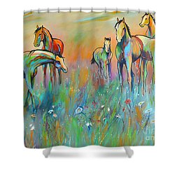 Shower Curtain featuring the painting Meadow by Cher Devereaux