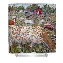 Meadow Farm Cows Shower Curtain