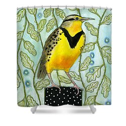 Meadowlark Black Dot Box Shower Curtain by Blenda Tyvoll