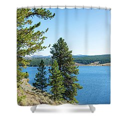 Meadowlark Lake And Trees Shower Curtain by Jess Kraft