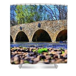 Shower Curtain featuring the photograph Meadows Road Bridge by DJ Florek