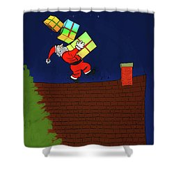 Shower Curtain featuring the digital art Meanwhile Up On The Housetop by John Haldane