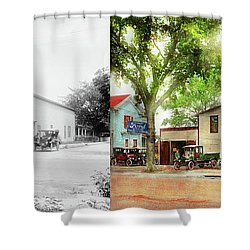 Shower Curtain featuring the photograph Mechanic - All Cars Finely Tuned 1920 - Side By Side by Mike Savad