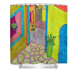 Med Town Shower Curtain