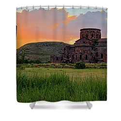 Mediaval Talin's Cathedral At Sunset With Cross Stone In Front, Armenia Shower Curtain