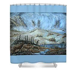 Shower Curtain featuring the painting Medicine Bow Peak In Clouds With Elk by Dawn Senior-Trask