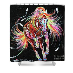Medicine Fire Pony Shower Curtain by Louise Green