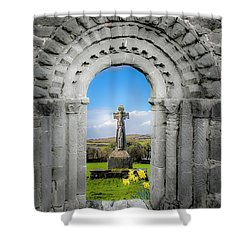 Medieval Arch And High Cross, County Clare, Ireland Shower Curtain