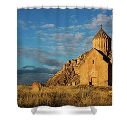 Medieval Areni Church Under Puffy Clouds, Armenia Shower Curtain by Gurgen Bakhshetsyan