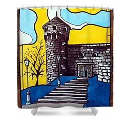 Shower Curtain featuring the painting Medieval Bastion -  Mace Tower Of Buda Castle Hungary By Dora Hathazi Mendes by Dora Hathazi Mendes
