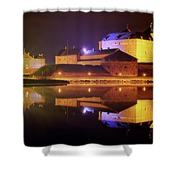 Medieval Castle By The Lake At Night Shower Curtain