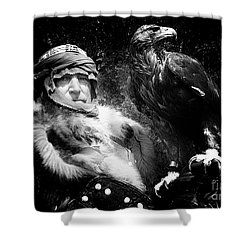 Shower Curtain featuring the photograph Medieval Fair Barbarian And Golden Eagle by Bob Christopher