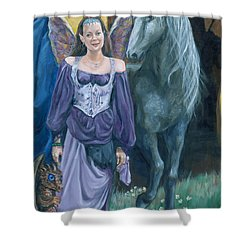 Shower Curtain featuring the painting Medieval Fantasy by Bryan Bustard