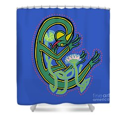 Medieval Frog Letter C Shower Curtain by Donna Huntriss