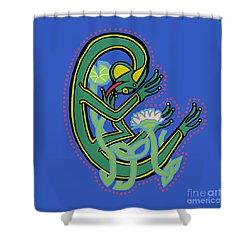 Medieval Frog Letter C Shower Curtain